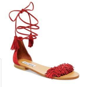 NWOT Steve Madden Red lace up tassle flats 7
